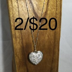 Jewelry - Pave heart pendant silver chain crystal